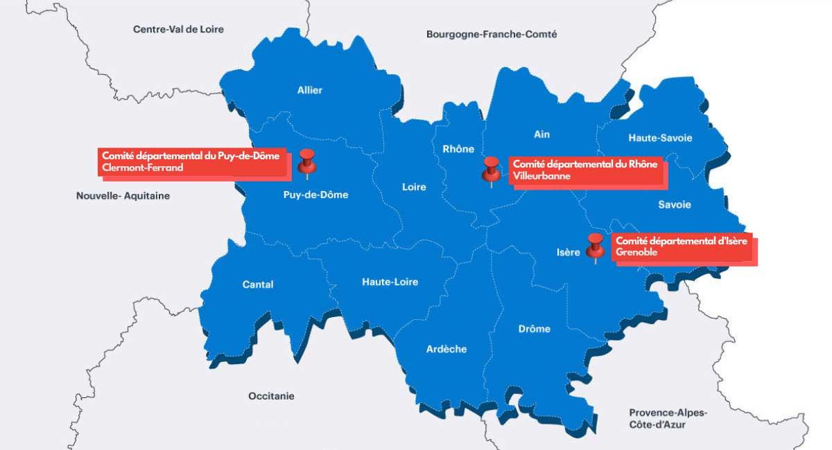 Carte Région AuRa FFSE